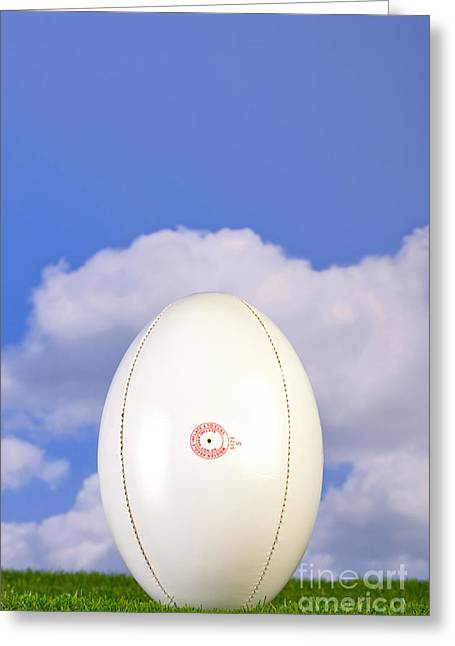 Rugby Ball Tee'd Up On Grass Greeting Card by Richard Thomas