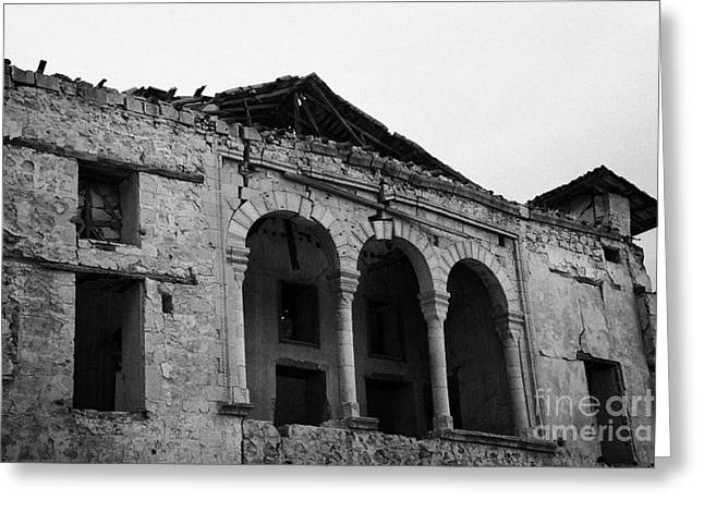ruins in the grounds of the armenian church and monastery of notre dame de tyre nicosia TRNC Greeting Card by Joe Fox