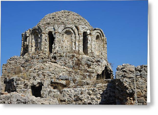 Ruins Of Byzantine Basilica Alanya Castle Turkey Greeting Card by Matthias Hauser