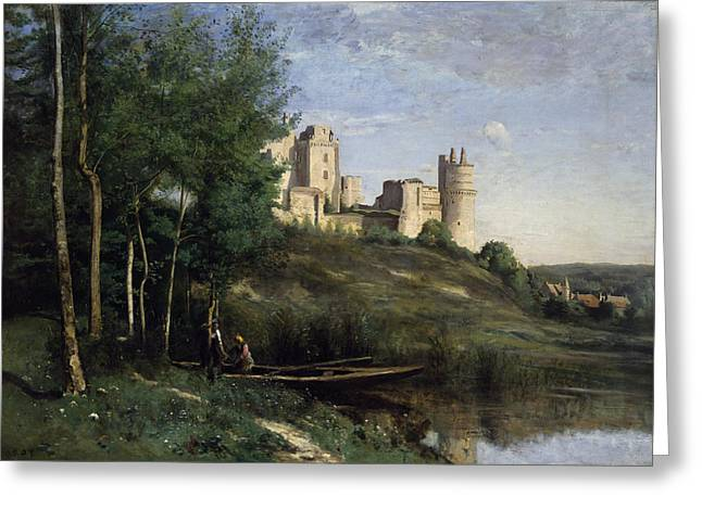 Ruins Of The Chateau De Pierrefonds Greeting Card by Jean Baptiste Camille Corot