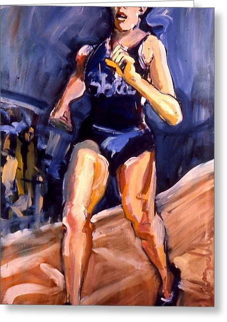 Greeting Card featuring the painting Runner by Les Leffingwell