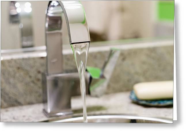 Running Faucet In The Bathroom Greeting Card by Ben Sandall