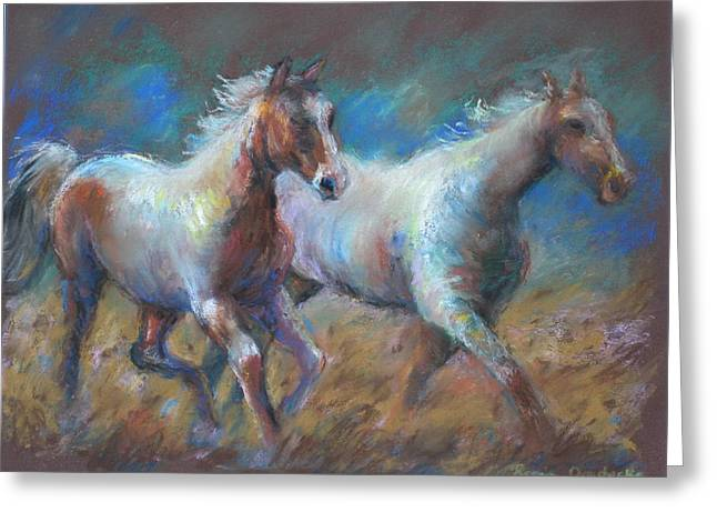 Greeting Card featuring the painting Running Free by Bonnie Goedecke