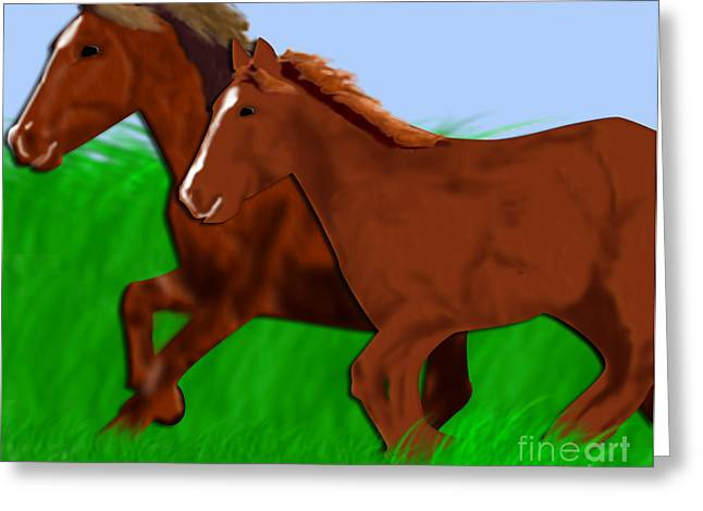 Running Free Greeting Card by Melissa Stinson-Borg