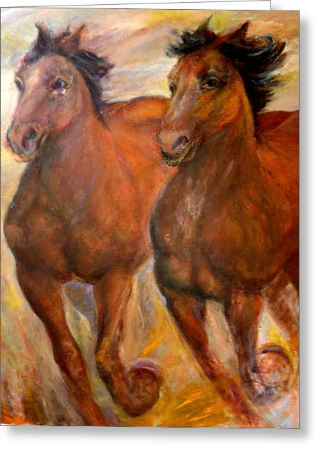 Running Horses Greeting Card