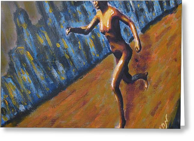 Running Nude Female Goddess On The Muddy Skyline Of Chicagos Lakefront Greeting Card