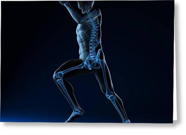 Running Skeleton, Artwork Greeting Card by Sciepro