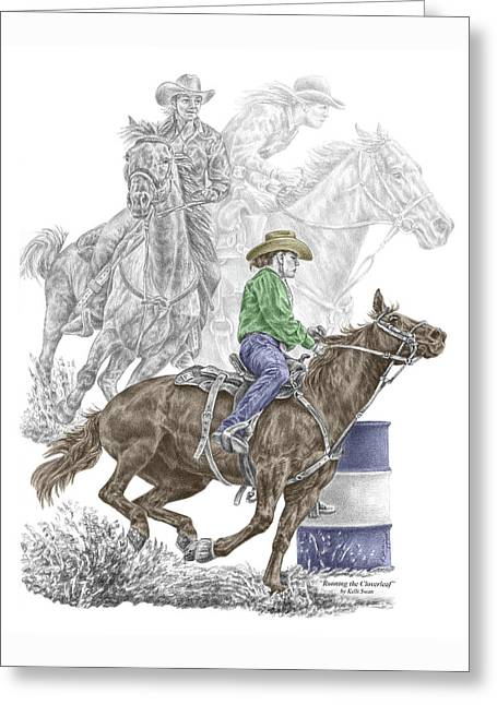 Running The Cloverleaf - Barrel Racing Print Color Tinted Greeting Card by Kelli Swan