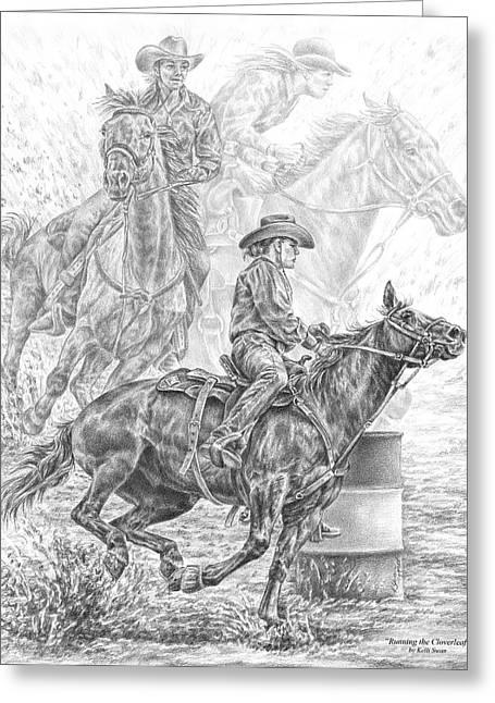 Running The Cloverleaf - Rodeo Barrel Race Print Greeting Card