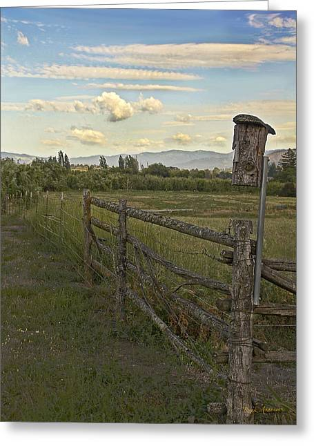 Rural Birdhouse On Fence Greeting Card by Mick Anderson