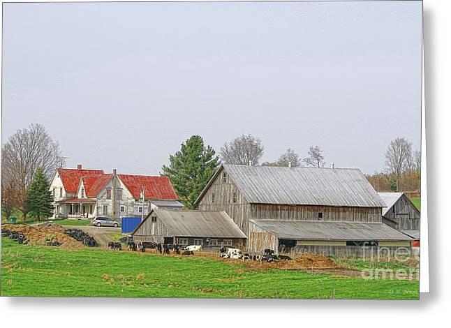 Rural Vermont Farm Scene Greeting Card by Deborah Benoit