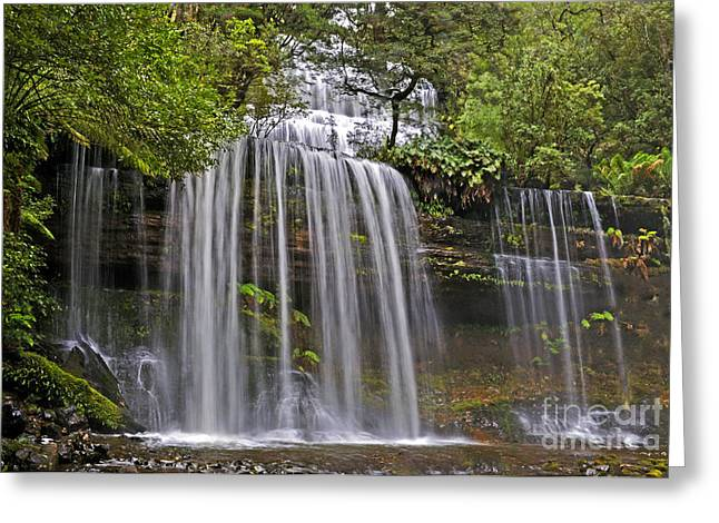 Russell Falls Greeting Card by Raoul Madden