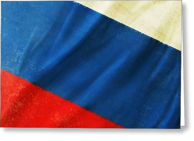 Russia Flag Greeting Card by Setsiri Silapasuwanchai