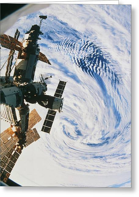 Russian Space Station Mir Over A Storm On Earth Greeting Card by Nasa