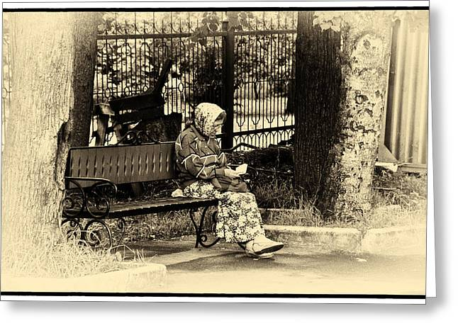 Greeting Card featuring the photograph Russian Woman In Park by Rick Bragan