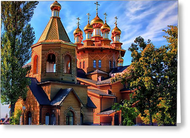Russian Wooden Church Greeting Card by Gennadiy Golovskoy