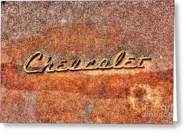Rusted Antique Chevrolet Logo Greeting Card by Dan Stone