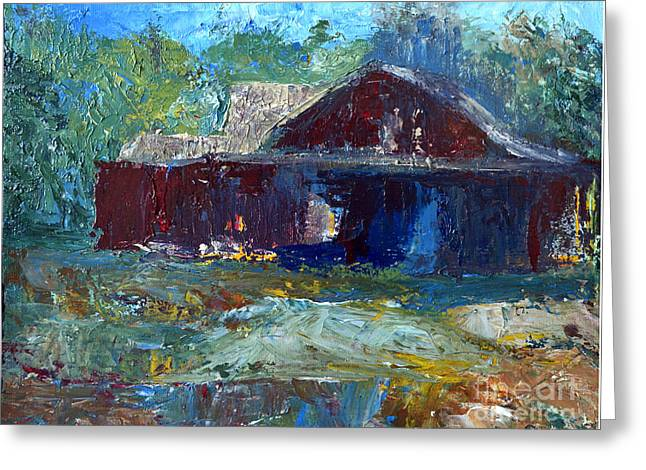 Rustic Barn Greeting Card by Claire Bull