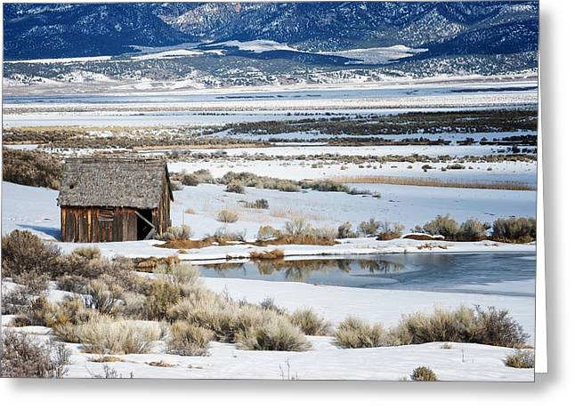Rustic Barn In A Snowy Valley Next To A Pond Greeting Card by C Thomas Willard