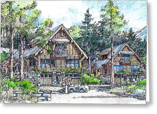 Rustic Cabins Greeting Card by Andrew Drozdowicz