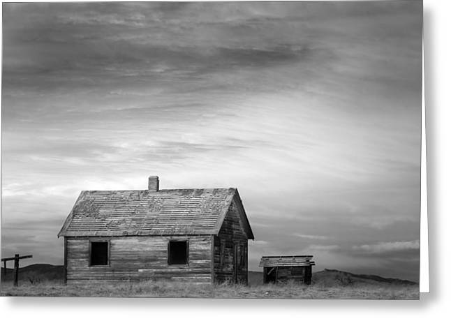 Rustic Rural House In The Country Bw Greeting Card