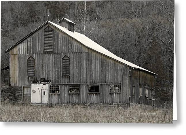 Rustic Weathered Mountainside Cupola Barn Greeting Card by John Stephens