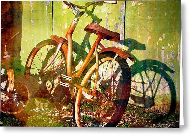 Rusty Bikes Greeting Card by Sonja Quintero