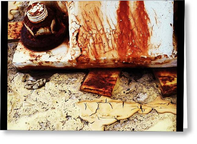 Rusty Bolt Abstraction Greeting Card by Anna Villarreal Garbis