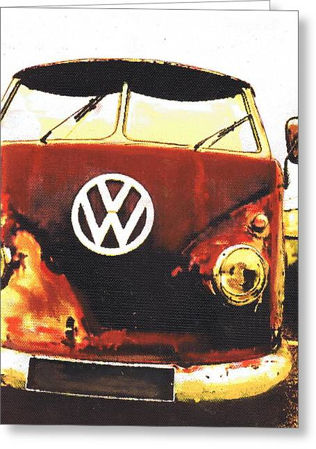 Rusty Bus Greeting Card by Sharon Poulton
