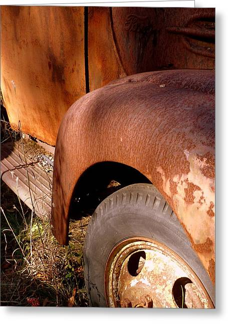 Rusty Mudguard Greeting Card by Carla Parris