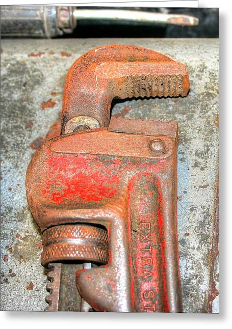 Rusty Pipe Wrench Greeting Card by Ester  Rogers
