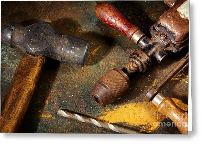Rusty Tools Greeting Card by Carlos Caetano