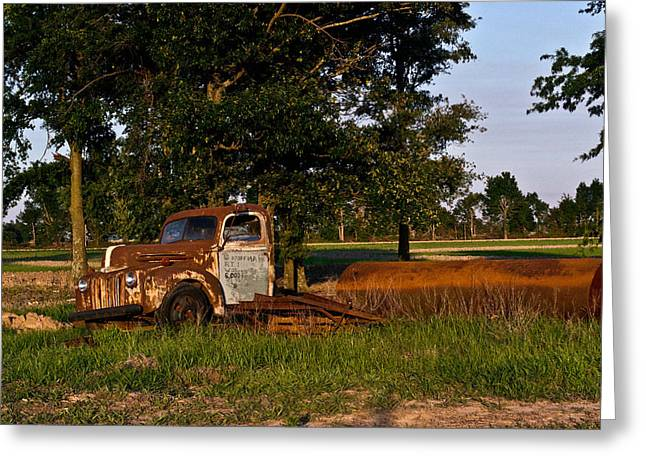 Rusty Truck And Tank Greeting Card by Douglas Barnett