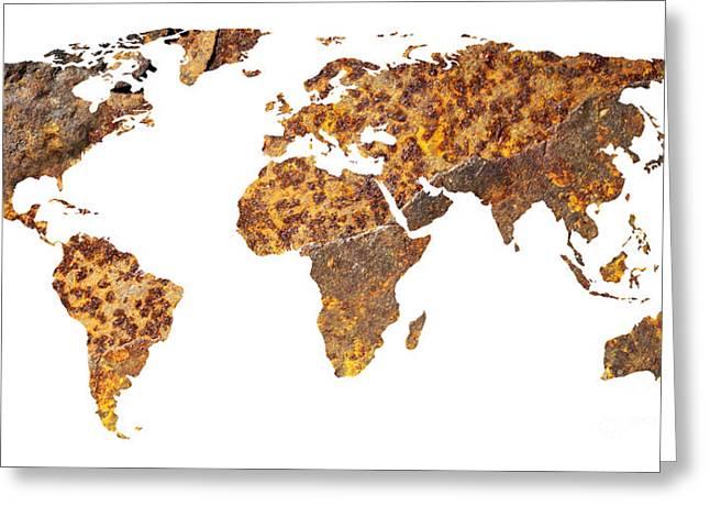 Rusty World Map Greeting Card by Tony Cordoza