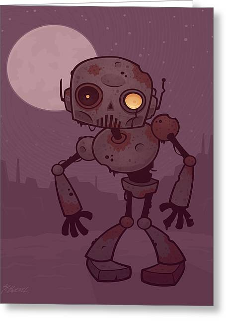 Rusty Zombie Robot Greeting Card by John Schwegel