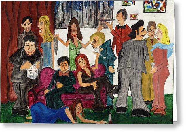 Greeting Card featuring the painting Ruthys Party by Stuart B Yaeger