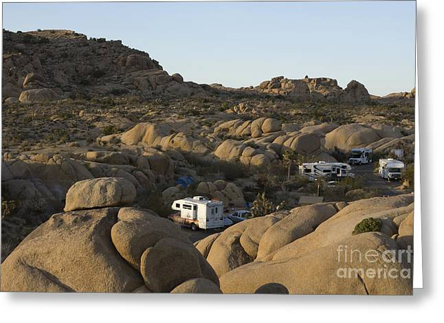 Rv Camping In The High Desert Greeting Card by Roberto Westbrook