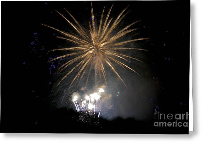 Greeting Card featuring the photograph Rvr Fireworks 1 by Mark Dodd