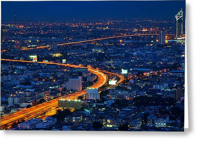 S Curve At Bangkok City Night Scene Greeting Card by Arthit Somsakul
