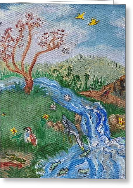 S Is For Stream Detail From Childhood Quilt Painting Greeting Card