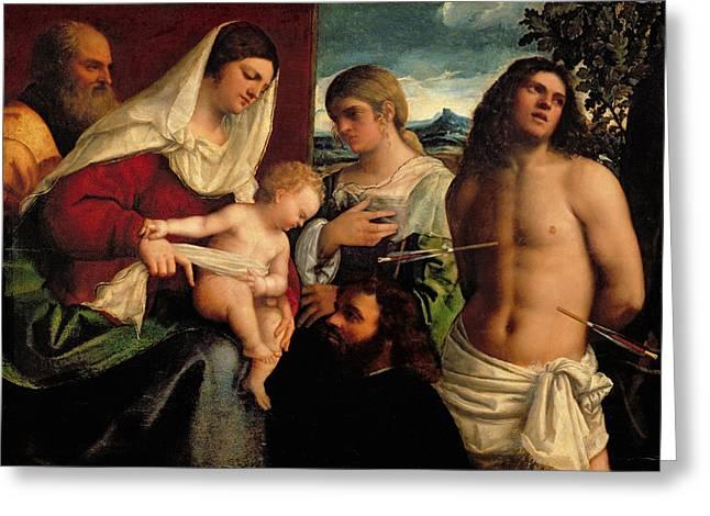 Sacra Conversatione With Ss Catherine Sebastian And Holy Family Greeting Card by Sebastiano de Piombo