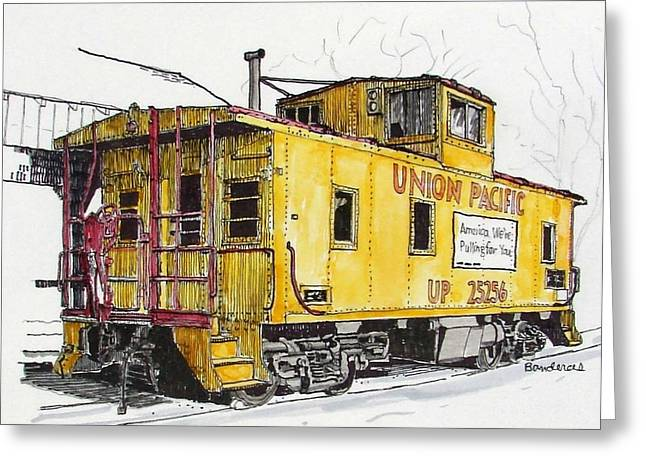 Greeting Card featuring the painting Sacramento Caboose by Terry Banderas