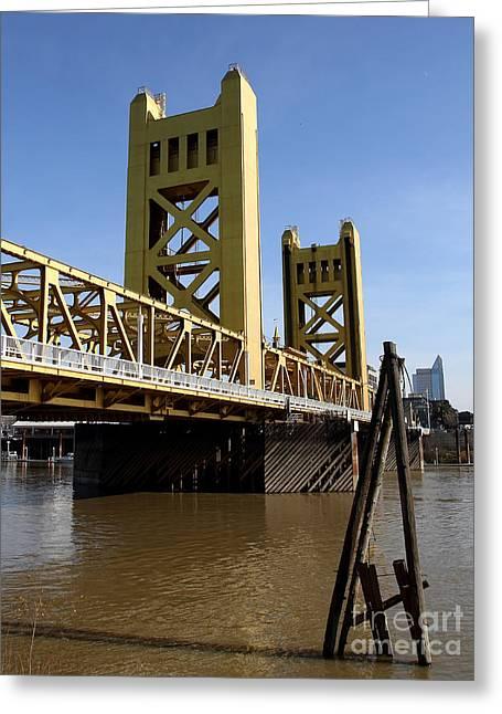 Sacramento California Tower Bridge Crossing The Sacramento Delta River . 7d11452 Greeting Card
