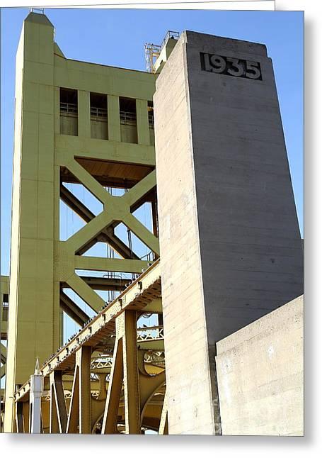 Sacramento California Tower Bridge Crossing The Sacramento Delta River . 7d11563 Greeting Card