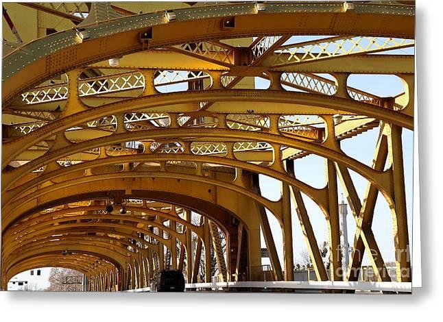 Sacramento California Tower Bridge Crossing The Sacramento Delta River . 7d11567 Greeting Card