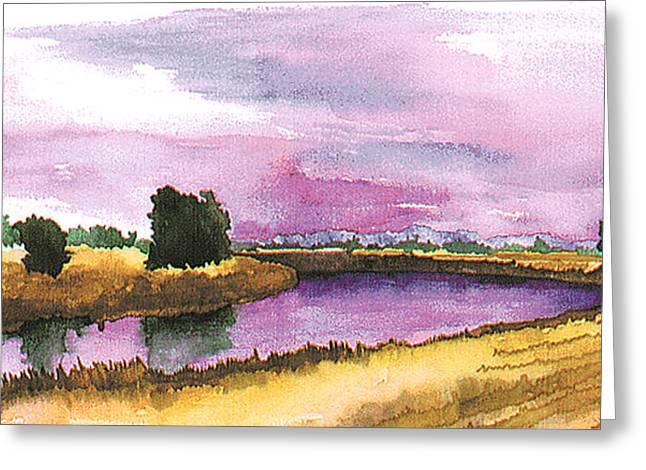 Sacramento River Greeting Card by Eunice Olson