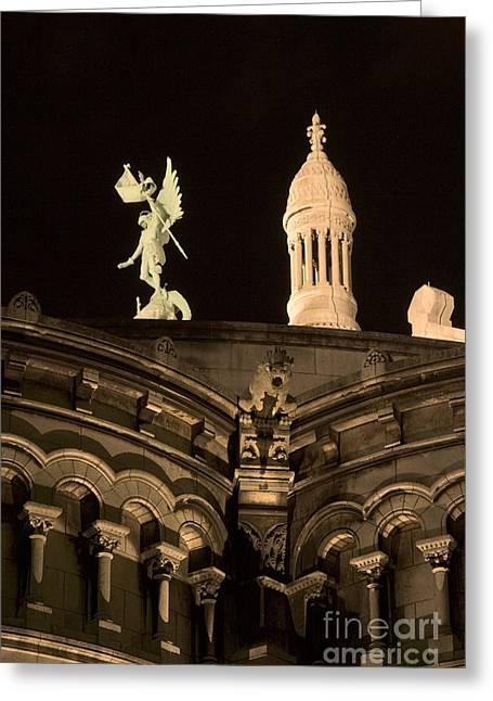 Sacre Coeur By Night Vi Greeting Card by Fabrizio Ruggeri