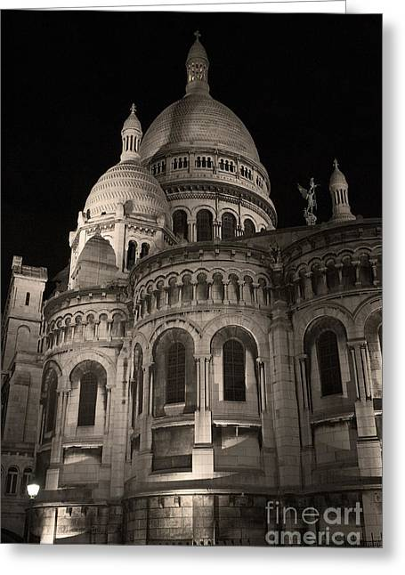 Sacre Coeur By Night Vii Greeting Card by Fabrizio Ruggeri