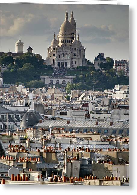 Sacre Coeur Rooftops Greeting Card by Gary Eason