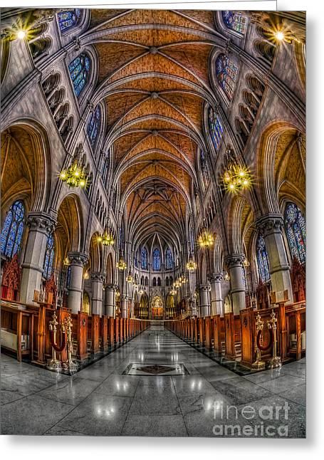 Sacred Heart Basilica Greeting Card by Susan Candelario
